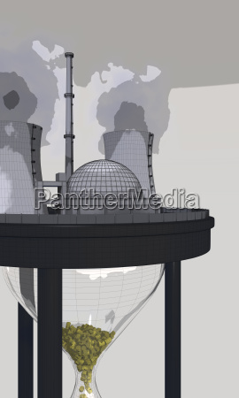 kernkraftwerk auf riesigen sanduhr im comic