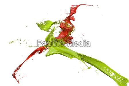 spritzlack in gruen und rot