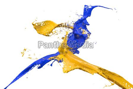 spritzer farbe in blau und gelb
