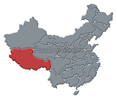 map of china tibet highlighted