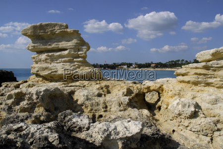 rocky coast at saint palais in