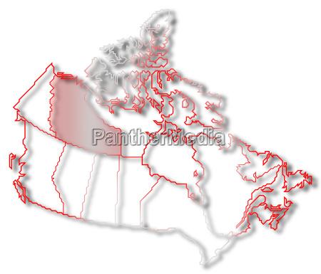 karte von kanada nordwest territorien hervorgehoben