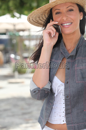attractive woman talking on her mobile