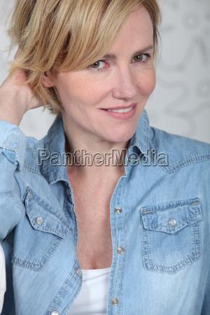 closeup of woman in a denim