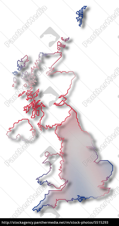 Großbritannien Karte Umriss.Stockfoto 5515293 Karte Von Großbritannien