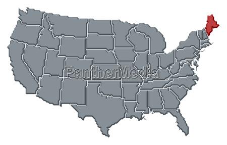 karte der vereinigten staaten maine hervorgehoben