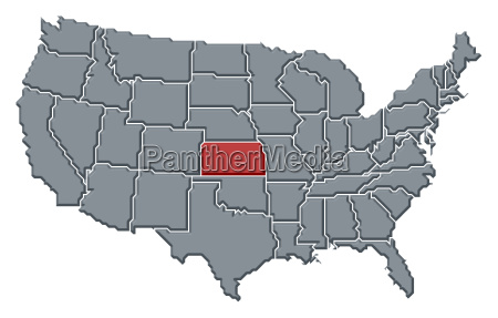 karte der vereinigten staaten kansas hervorgehoben