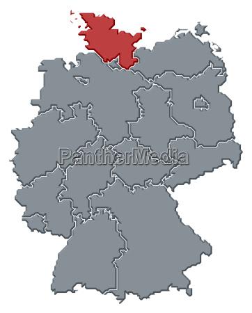karte von deutschland schleswig holstein hervorgehoben