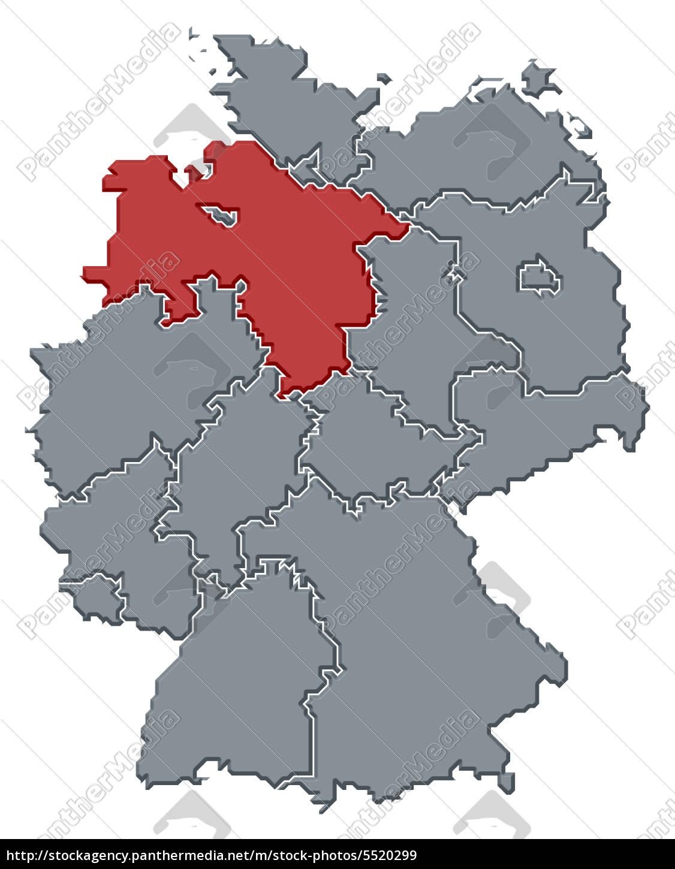 deutschland niedersachsen karte karte von deutschland hervorgehoben niedersachsen   Lizenzfreies