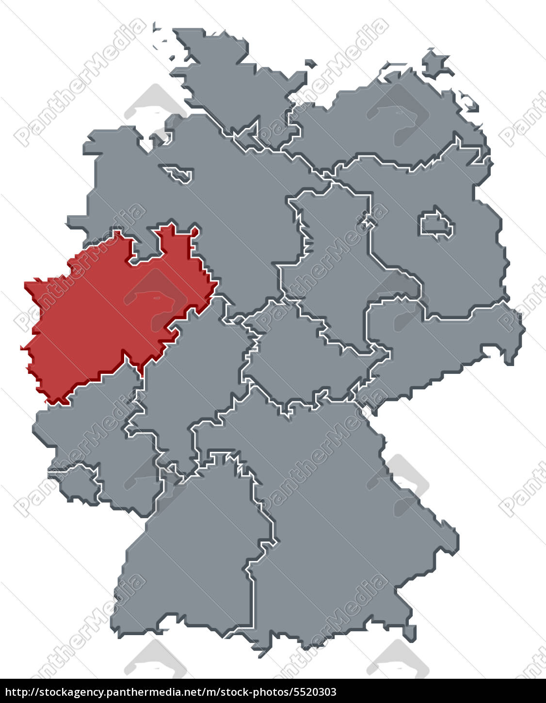 Deutschlandkarte Nordrhein Westfalen Hervorgehoben Stockfoto