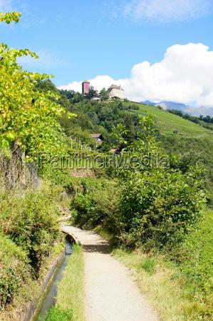 algunder waalweg with castle tyrol