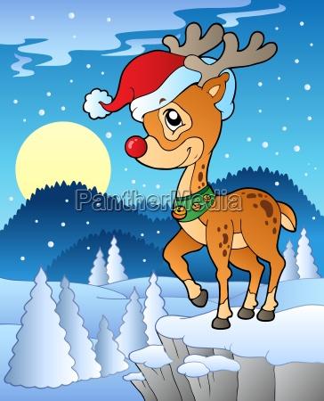 scene with christmas deer 1