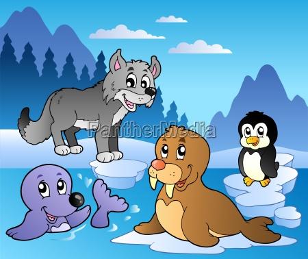 winter-szene, mit, verschiedenen, tieren, 2 - 5544421