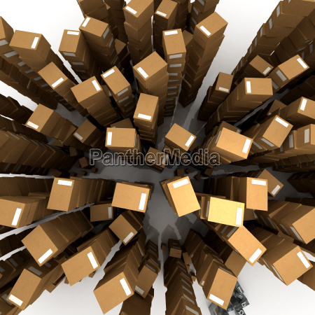 aerial view of boxes in piles