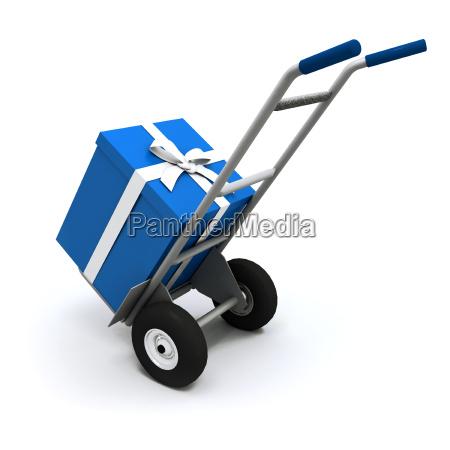 big blue present delivery