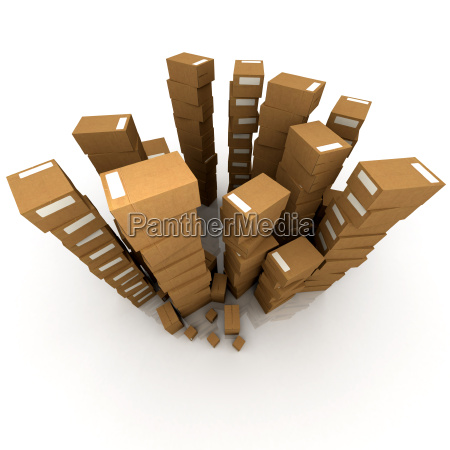huge piles of cardboard boxes