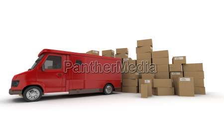 red lorry and boxes