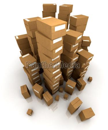 riesige, haufen, pappkartons - 5558385