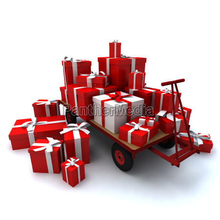 heap of gift boxes on pallet