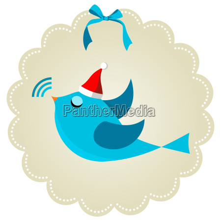 twitter bird at christmas time