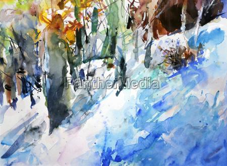winterwald watercolor