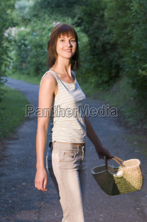 young lady with handbag