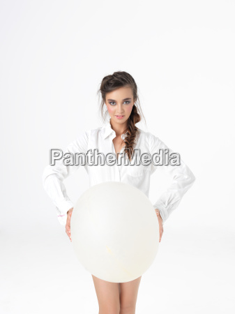 isolated happy woman posing with white
