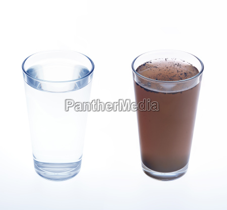 clean and dirty water in drinking