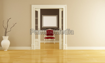 klassisches interieur mit roten sessel