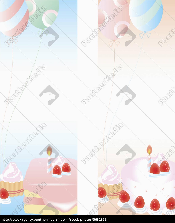 Kerze Kuchen Ballon Luftballon Erdbeere Transparent Stockfoto