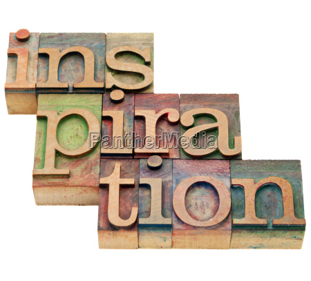 inspiration word in letterpress type