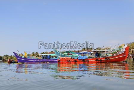 colorful fishing boats moored at kochin