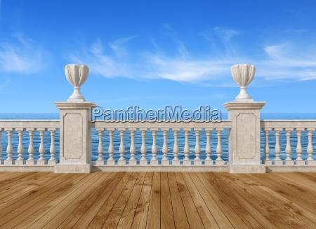 leere terrasse mit balustrade