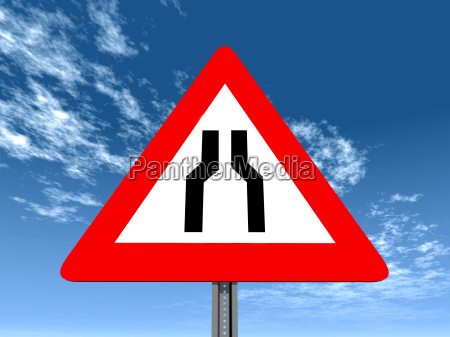 traffic sign narrowed roadway