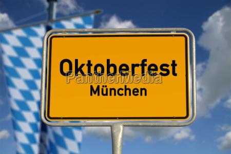 german town sign oktoberfest munich