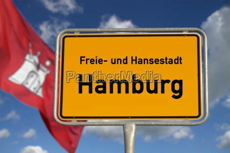 german ortsschild capital hamburg