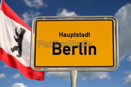 german ortsschild capital berlin