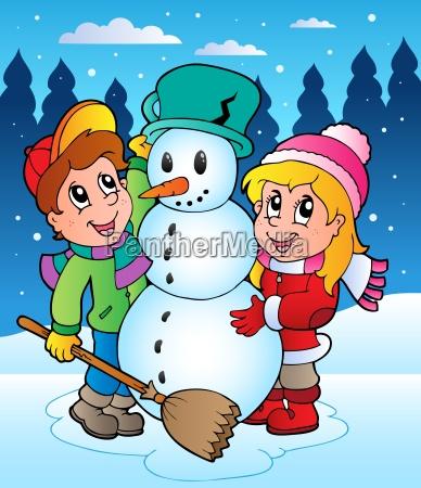 winter scene with kids 2