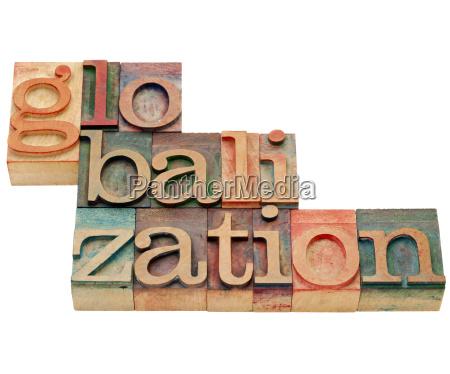 globalization word in letterpress type