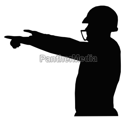 silhouette american football quarterback instructing