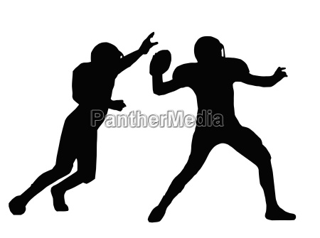 silhouette american football quarterback and defender