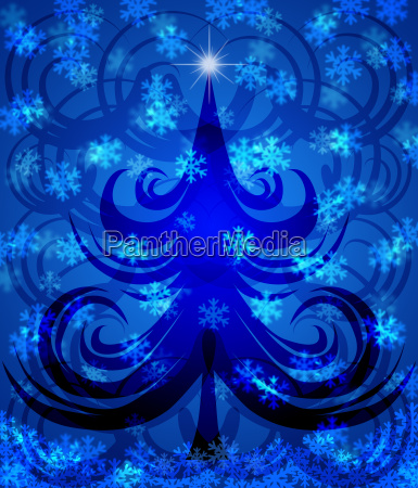 abstract swirls christmas tree on blue