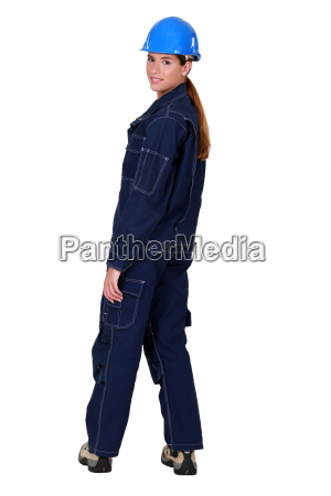 female worker wearing overalls