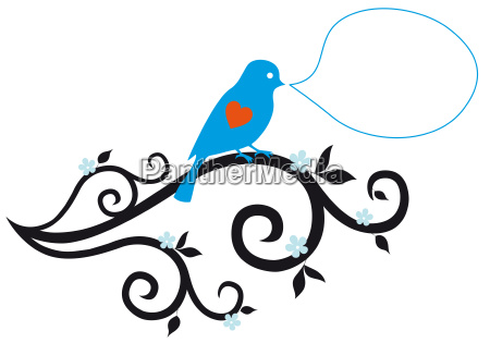 blue bird with red heart