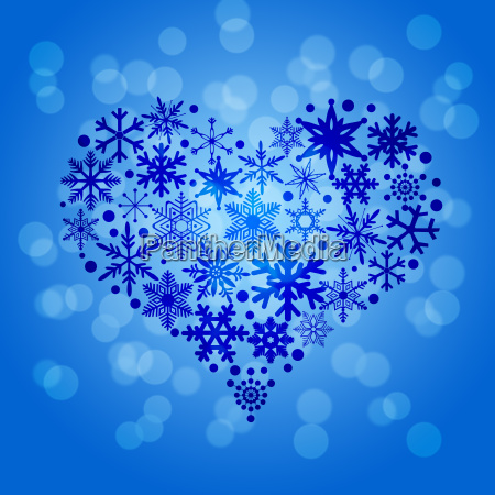 christmas snowflakes heart shape on blurred