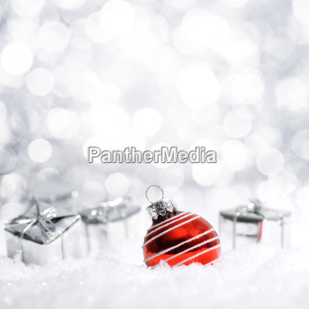 beautiful christmas decoration in snow