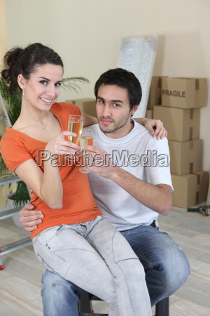 young woman and man new home
