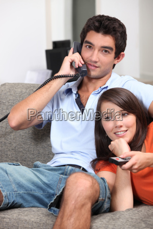 young couple relaxing on the couch