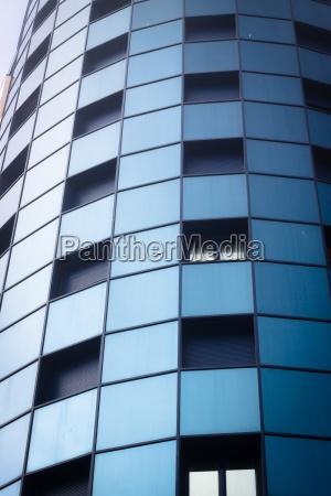 blue windows of office building