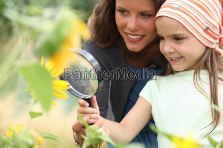 maedchen blick auf sonnenblumen